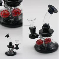 Wholesale cheap bubblers - Cheap Mini Glass Bongs Red Mushroom Bubblers Hand-Blown Water Bongs Beaker Oil Rigs Water Pipes Recycler Glass Water Bong Hookahs