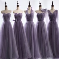 Wholesale Tulle Bridesmaid Gowns - Long Tulle Bridesmaid Convertible Dresses Floor Length 2017 Wedding Bridesmaid Gowns Lace Up Back Custom Made