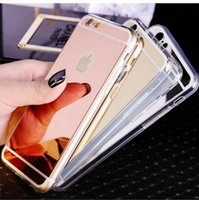 Wholesale Iphone Case Bag Silicon - Ultra thin Slim Fashion Luxury Electroplating Mirror Soft TPU Silicon Case For iphone 7 Plus 6S 5SE Samsung Galaxy S6 S7 Edge Back Cover Bag