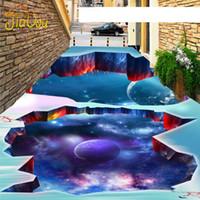 Wholesale Custom Wallpaper Designs - Wholesale- Custom Any Size 3D Floor Wallpaper 2016 New Design HD Planet Photo Waterproof Self-adhesive Floor Mural Wallpaper For Walls 3D