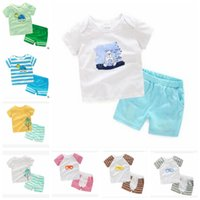 Wholesale Kid Boy Wearing Shirt Short - Baby Clothes Boy Summer Suit Kids Short Sleeve T-shirts Pants Children Fashion Cotton Tops Shorts Newborn Casual Outfits Baby Kids Wear K58