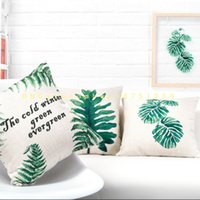 Wholesale New Tropical Plant Fashion Leaves Rainforest Pillow Case Cushion Cover Cotton and Hemp Digital