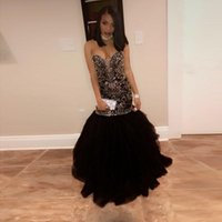 Wholesale Girls Sparkly Dresses - Sparkly Crystal Beading Mermaid Prom Dresses 2017 Sweetheart Tulle Black and Gold Evening Party Gowns Black Girl Prom Dress