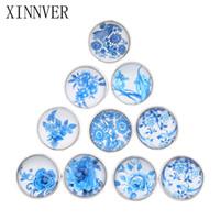 boutons bleus mélangés achat en gros de-Bouton de fleurs en verre mélangé 18mm bouton pression en verre à facettes Snap Fit Xinnver snap Bracelet bijoux ZB300