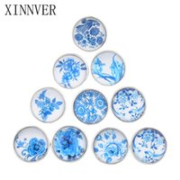 botones azules mezclados al por mayor-Mezclado Azul Flores Patrón 18mm Botón a presión de cristal Facetado de vidrio Snap Fit Xinnver broche broche de joyería de joyería ZB300