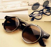 Wholesale Wholesale Steampunk Glasses - 50pcs 4 colors Steampunk Goth Sunglasses Round Metal Glasses Retro Circle Flip Up UV400 Goggles R032