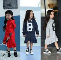 Wholesale Korean Style Drop Shipping - 2016 New Arrival Fashion Hoodies 100% Cotton Dresses Long Korean Design Beautiful Fishtail Dress 3Colors Clotihng Dress Drop Shipping