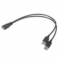 питательный кабель для сплиттера usb оптовых-30 см кабель-удлинитель USB 1 Женский до 2 двойной USB мужской концентратор данных адаптер питания y Splitter USB зарядный кабель питания шнур 2017 горячие