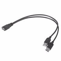 powered usb splitter kabel großhandel-30cm Verlängerungskabel USB 1 Buchse auf 2 Dual USB Male Daten Hub Netzteil Y Splitter USB Ladekabel Netzkabel 2017 Hot