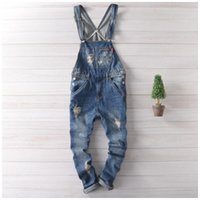Wholesale Japan Fashion Jeans - Wholesale-Japan Fashion Blue Denim Overalls Men Bib Overalls Hip Hop Mens Jeans Suspender Pants Salopette Homme XXL