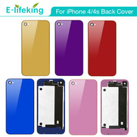 iphone 4s rückseitige abdeckung gehäuse großhandel-Batterie-Gehäuse-rückseitige Abdeckung für iPhone 4 4S Spiegel-Farben-Ersatzteil + Blitz-Diffusor CDMA mit freiem Verschiffen