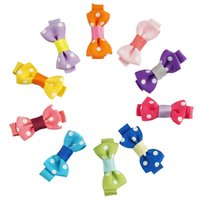Wholesale Tiny Clips Wholesale - 30 Pcs lot Mini Cute Dot Hair Clips with Single Fork Tiny Hair Bows For Cute Girl