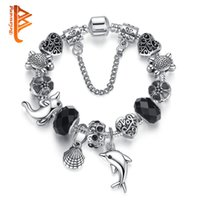 Wholesale 925 Silver Murano Bead - BELAWANG Fashion DIY Jewelry Black Murano Glass Crystal Beads Bracelet For Women 925 Silver Dolphin Shell Flowers Charm Bracelets Gifts