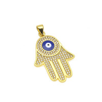 Wholesale Hand Fatima Jewelry - Men Gold Plated Fatima hand Pendant AAA CZ Crystal Copper Material Luck Hand Palm Blue Necklace Chain For Women Jewelry