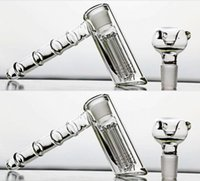 Wholesale Per Hookahs - Cheap Mini 14cm Bongs Water Pipes 18.8mm Joint Glass Hammer 6 Arm Per Glass Percolator Bubbler Smoking Pipes Glass Gongs Recycler Hookahs