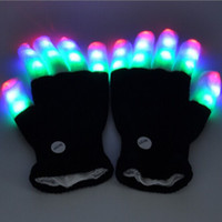 Wholesale led rave gloves wholesale - Rave LED Flash Gloves Light Up Stage Performance Glove Finger Luminary Dance Mittens For Party Decorations Props Suit Winter 18 5qt FZ
