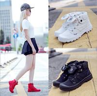 Wholesale Palladium Shoes Men - Size35-39 hot sale palladium denim sports shoes women men Casual Shoes flat with high top water wash denim canvas shoes men women's Walking