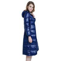 Wholesale Long Down Filled Jacket - 2017 New High-End Ladies Winter Warm Coat Women Ultra Light 640 Filling Prower Long White Duck Down Jacket Women Jackets