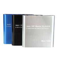 leitor de cartão hd venda por atacado-Venda por atacado - Venda quente Mini 1080P HDD Media Player MultiMedia função Muti Video Player MKV / H.264 / RMVB Full HD com o leitor de cartão USB HOST melhor