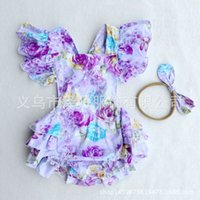 Wholesale Jumpsuits Flowers - 2017 Ins Baby Girl Print Flower Rompers Cute Floral Lace Jumpsuits Hollow back + Headband Two Piece Set Infant Toddler Soft Cotton Bodysuits