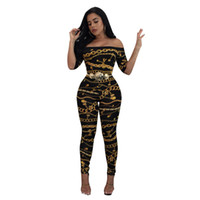 Wholesale Womens Pants Rompers - Womens Digital Chain Print Off Shoulder Bodycon Crop Top Jumpsuit Outfit Pants Set Playsuit Catsuits Rompers