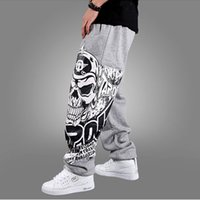 Wholesale Skull Harems - Uni-Splendor 2017 Autumn Hip Hop Style Men Casual Full Pants Black Gray Print Skull Fashion Loose Big Size Long Trousers