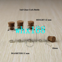 Wholesale Tiny Glass Jar Pendant - 50 x High Quality 1ml Mini Glass Vials Small Jars Bottles With Cork Stoppers Tiny Glass Bottle For Pendants Wishing Bottle