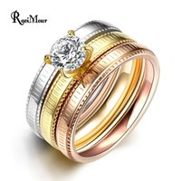 Wholesale 3pcs Fashion Ring Sets - Stainless Steel Rings 3pcs Set Rose Gold Silver Plated Big Crystal Anel Engagement Ring Women Men Jewelry Fashion Bague