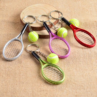 Wholesale Mini Alloy Crosses - Mini tennis racket key holder creative personality advertising campaign publicity small gifts KR158 Keychains mix order 20 pieces a lot