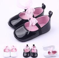 Wholesale Infant Pre Walkers - Baby Girls shiny Bowknot Princess shoes infants anti-slip bow blingbling pre walkers girls Soft Sole party shoes 0-1T