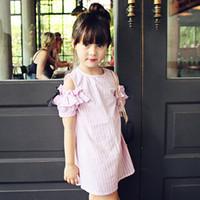 Wholesale Korean Strapless Dress - 2017 New Korean Big Girls Dress Vertical Striped Bowknot Children Clothing Dresses Summer Strapless Girl Casual Fresh Style Pink Blue A6231