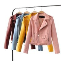 Wholesale Short Leather Jacket Woman Fashion - S-XL New Spring Fashion Bright Colors Good Quality Ladies Basic Street Women Short PU Leather Jacket FREE Accessories