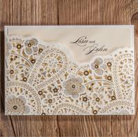 Wholesale Elegant Wedding Invitation Cards - Ivory Wedding Invitations Cards With Hollow Out Rustic Laser Cut Invatation Card Flowers Elegant Party Invites new designs free shipping