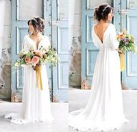 vestidos de boêmio grego venda por atacado-2019 Vestidos de casamento grego robe de mariage boêmio sexy com decote em v sem encosto vestido com mangas país vestido de noiva