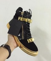Wholesale fashion spikes studs - 2017 high quality fashion men big spike stud shoes patchwork leather sneaker gold zip casual shoes gold sole party shoes men's brand shoe