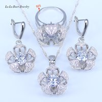Wholesale Sapphire Cz Earrings - L&B Perfect Birthday&Wedding Present For Women Red Created Garnet White CZ Sterling Silver Jewelry Sets 925 Jewelry
