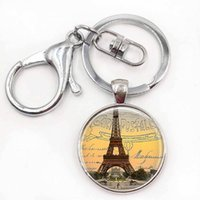 Wholesale Eiffel Tower Jewelry For Men - Paris Keychains Eiffel Tower Key Chains Glass Pendant Keyrings Paris Jewelry Birthday Gift for Women for Men