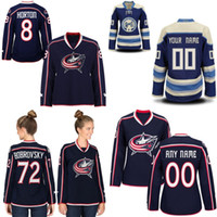 Lady Columbus Blue Jackets Jersey 3 Seth Jones 7 Jack Johnson 17 Brandon Dubinsky 71 Nick Foligno 72 Sergei Bobrovsky Hockey Jerseys