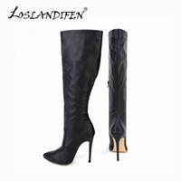 Wholesale White Sexy Platform Knee Boots - Wholesale- Plus Size 34-43 2015 Spring Autumn Women Boots Sexy High Heel Women Long Boots knee Platform Red Bottom Ladies Shoes 769-3MA