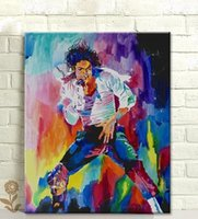 One Panel painting michael - Single Unframed Michael Jackson Abstract Colourful Painting Oil Painting On Canvas Giclee Wall Art Painting Art Picture For Home Decorr