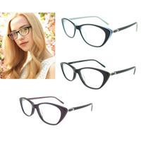 Wholesale Designer Cateye Eyewear - Fashion Designer Clear Lens Vintage CatEye Glasses Frame Female Hand Made Acetate Frames Eyewear Women Rx Optic Glass