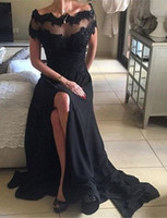 Wholesale Short Black Chiffon Party Dress - Black Beading Long Party Dresses Lace Short Sleeve Chiffon Prom Dresses Spit Side Scalloped Neck Evening Dresses For Gown