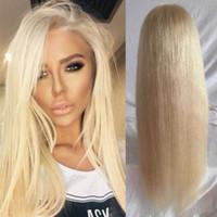 Wholesale Middle Part Malaysian Wigs - Brazilian Vrigin hair middle part #60 color blonde 22 lace front wigs blonde wigs full lace human hair wigs with baby hair