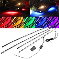 Wholesale Led Neon Kits - 4in1 Under Car Glow Underbody System Neon Lights underpan RGB LED Tube Kit With sound Control 60 x 90CM DC12V