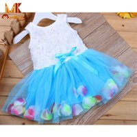 Vente en gros- MK 2017 Summer Girls Robes Lace Flower Blooms Bowknot Tulle Kids Baby Girl Dress Enfant Fille Vêtements Livraison gratuite D8941