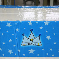Grossiste-1pcs Bleu Princesse Couronne Cartoon Plastique Tablecover Vaisselle Jetable Pour Fille Enfants Happy Birthday Party Decoration