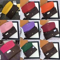 Wholesale Orange Polka Dots - Wholesale lady luxury brand real leather multicolor coin purse long wallet colourfull Card holder original box women classic zipper pocket