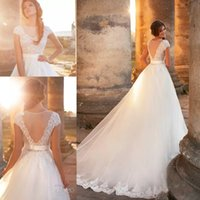 Wholesale See Through Laced Dress - 2017 New Vestios De Novia Vintage Wedding Dresses Sheer Crew Neck Cap Sleeves See Through Back Lace Appliques A-line Bridal Gowns with Belt