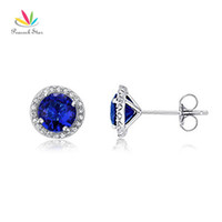 Wholesale Navy Stud Earrings - Peacock Star 1 Carat Navy Blue Simulated Sapphire Solid 925 Sterling Silver Stud Earrings Jewelry CFE8109
