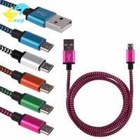 kablo usb mikro b erkek toptan satış-USB Mikro USB Kablosu 3Ft Naylon Örgülü USB 2.0 A Erkek Mikro B Data Sync Hızlı Şarj Şarj Kablosu Android Samsung S7 Sony LG için